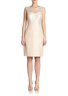 Kay Unger Tweed & Lace Dress