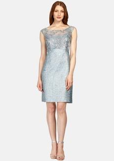 Kay Unger Tweed & Lace Sheath Dress
