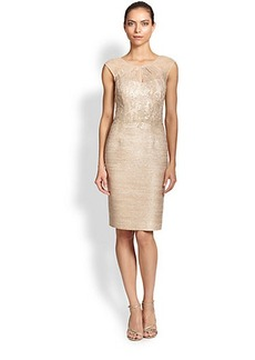 Kay Unger Tweed Combo Sheath Dress