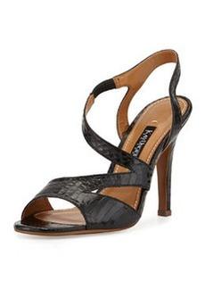 Kay Unger Valorie Asymmetric Snakeskin Sandal, Black