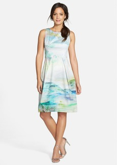 Kay Unger Watercolor Print A-Line Dress