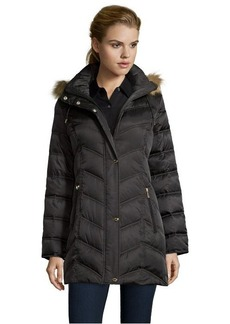 Kenneth Cole black chevron quilted optional hooded down jacket