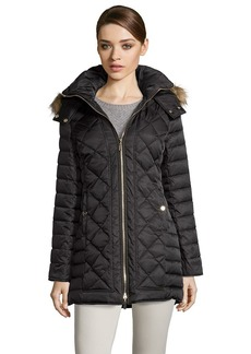 Kenneth Cole black diamond quilted optional hooded zip front ...