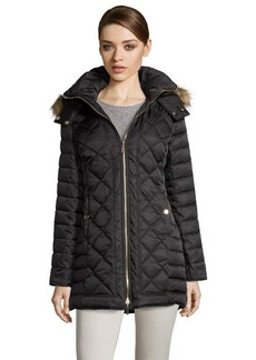 Kenneth Cole black diamond quilted optional hooded zip front down jacket