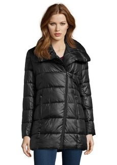 Kenneth Cole black quilted asymmetrical zip down jacket