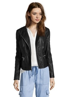 Kenneth Cole black quilted faux leather asymmetrical zip jacket