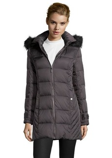 Kenneth Cole charcoal box quilted optional hooded zip front down jacket