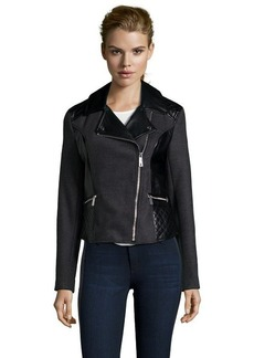 Kenneth Cole charcoal felt and faux leather motorcycle jacket