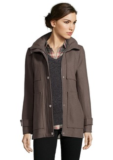 Kenneth Cole coffee wool blend twill hooded fit-and-flare coat
