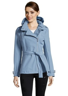 Kenneth Cole dusty shale water resistant asymmetrical zip front hooded trench