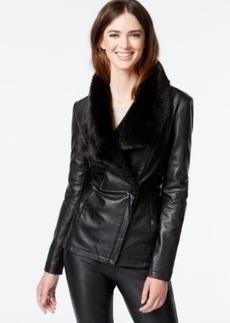 Kenneth Cole Faux-Fur-Trim Faux-Leather Coat