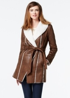 Kenneth Cole Faux-Shearling Wrap Coat
