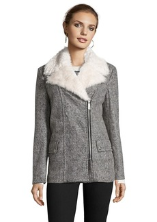 Kenneth Cole grey wool faux fur trimmed asymmetrical zip ...