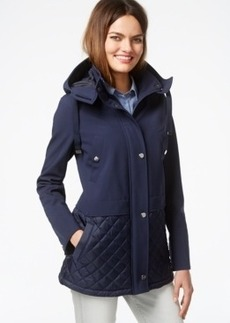 Kenneth Cole Hooded Quilt-Trim Coat