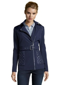 Kenneth Cole midnight blue soft shell asymmetrical belted jacket