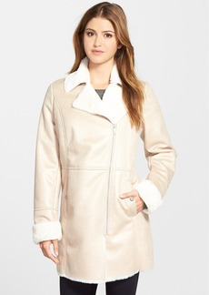 Kenneth Cole New York Asymmetrical Zip Faux Shearling Coat