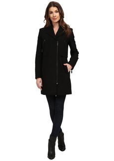 Kenneth Cole New York Asymmetrical Zip Front Twill Wool Coat