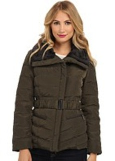 Kenneth Cole New York Belted Down Jacket with Fur Faux Fur Collar