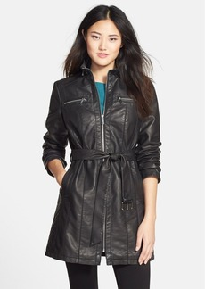 Kenneth Cole New York Belted Faux Leather Coat (Online Only)