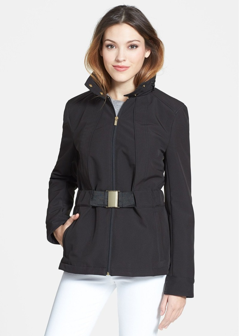 Kenneth Cole New York Belted Short Jacket with Stowaway Hood