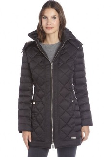 Kenneth Cole New York black diamond quilted zip front hooded down jacket