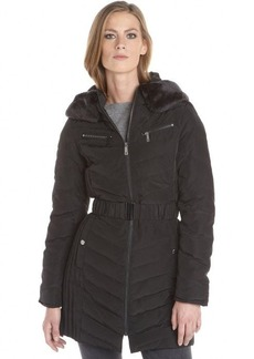 Kenneth Cole New York black quilted down filled faux fur collar belted hooded jacket
