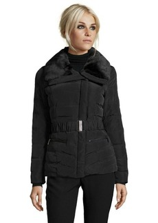Kenneth Cole New York black quilted down filled faux fur collar belted jacket