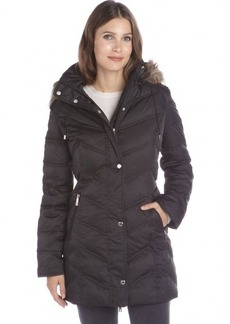 Kenneth Cole New York black quilted drawstring hooded down jacket