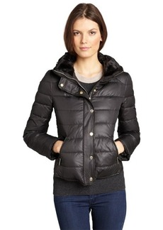 Kenneth Cole New York black quilted faux fur collar optional hood down filled coat