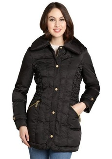 Kenneth Cole New York black ruched side down filled puff collar coat