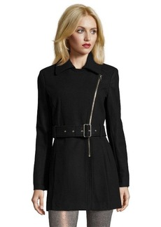 Kenneth Cole New York black wool blend asymmetrical accent belted long sleeve coat