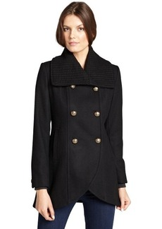 Kenneth Cole New York black wool blended knit collar double breasted peacoat