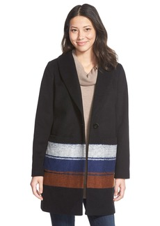 Kenneth Cole New York Blanket Stripe Wool Blend Coat