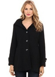 Kenneth Cole New York Braided Wool Button Front Coat with Hoodie