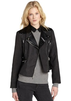 Kenneth Cole New York charcoal felt and faux leather motorcycle jacket