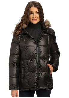 Kenneth Cole New York Cheveron Quilt Down Jacket with Faux Fur Trim Hood