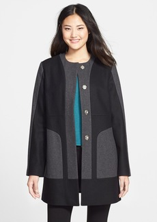Kenneth Cole New York Collarless Colorblock Wool Blend Coat