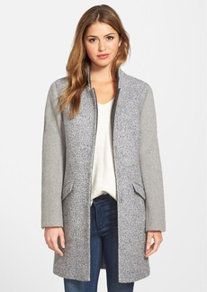 Kenneth Cole New York Contrast Sleeve Bouclé Coat (Regular & Petite)