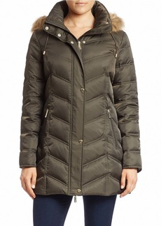 KENNETH COLE NEW YORK Convertible Faux Fur-Trimmed Puffer Coat
