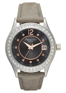 Kenneth Cole New York Crystal Bezel Leather Strap Watch, 38mm