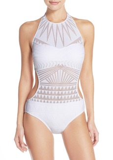 Kenneth Cole New York 'Deco the Distance' High Neck One-Piece Swimsuit