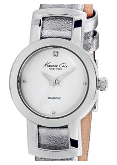 Kenneth Cole New York Diamond Metallic Leather Strap Watch, 28mm