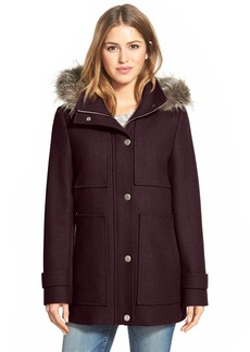 Kenneth Cole New York Faux Fur Trim Wool Blend Duffle Coat