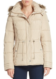 KENNETH COLE NEW YORK Faux Fur-Trimmed Puffer Jacket