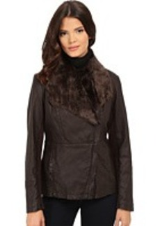 Kenneth Cole New York Faux Leather Jacket with Faux Fur Collar