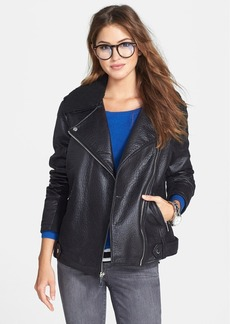 Kenneth Cole New York Faux Leather Moto Jacket with Faux Shearling Trim