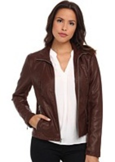Kenneth Cole New York Faux Leather Zip Front with Knit Trim