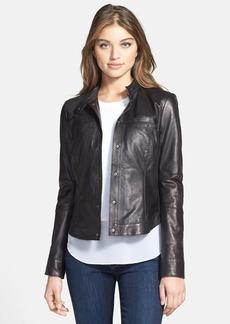 Kenneth Cole New York 'Gerri' Leather Jacket (Regular & Petite)