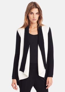 Kenneth Cole New York 'Haven' Faux Leather Trim Open Front Cardigan (Petite)
