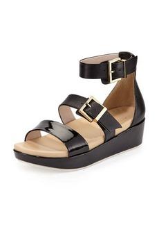 Kenneth Cole New York Joyce Leather Buckled Wedge Sandal